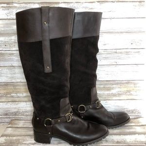 Etienne Aigner Viola Brown Suede Knee High Boots.